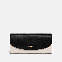 SLIM ENVELOPE WALLET IN COLORBLOCK - F73517 - CHALK/BLACK/GOLD