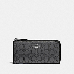 COACH F73527 - L-ZIP WALLET IN SIGNATURE JACQUARD BLACK SMOKE/BLACK/SILVER