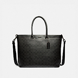 BECKETT TOTE IN SIGNATURE CANVAS - F73528 - BLACK/OXBLOOD