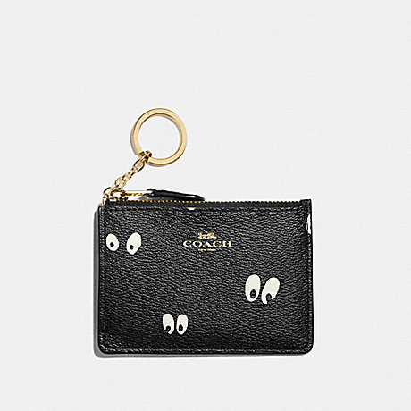 COACH F73575 DISNEY X COACH MINI SKINNY ID CASE WITH SNOW WHITE AND THE SEVEN DWARFS EYES PRINT BLACK/MULTI/GOLD