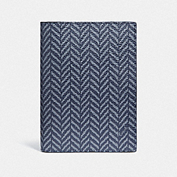 COACH F73585 Passport Case With Herringbone Print NAVY/MULTI