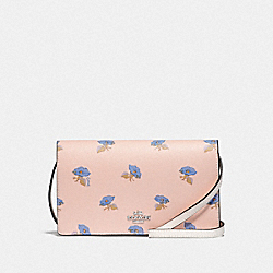 HAYDEN FOLDOVER CROSSBODY CLUTCH WITH BELL FLOWER PRINT - F73586 - PINK/MULTI/SILVER