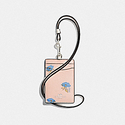 COACH F73597 Id Lanyard With Bell Flower Print PINK/MULTI/SILVER