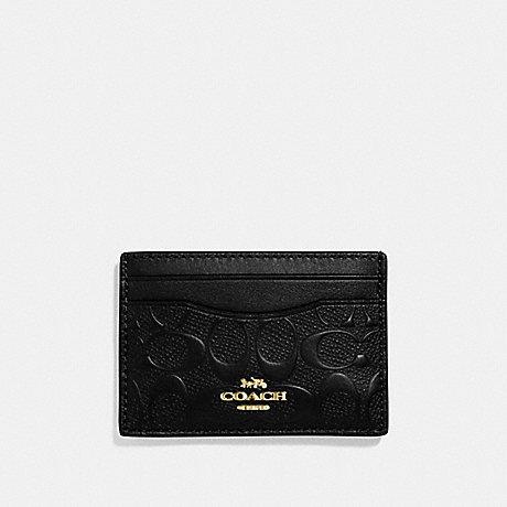 COACH F73601 CARD CASE IN SIGNATURE LEATHER BLACK/GOLD