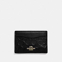 COACH F73601 Card Case In Signature Leather BLACK/GOLD