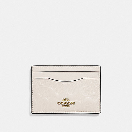COACH F73601 CARD CASE IN SIGNATURE LEATHER CHALK/GOLD