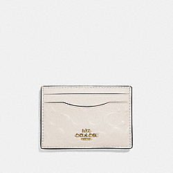COACH F73601 - CARD CASE IN SIGNATURE LEATHER CHALK/GOLD