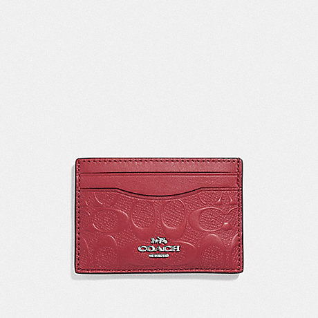 COACH F73601 CARD CASE IN SIGNATURE LEATHER WASHED RED/SILVER