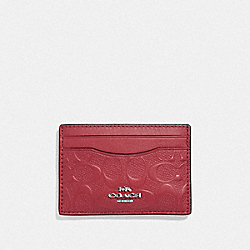 COACH F73601 - CARD CASE IN SIGNATURE LEATHER WASHED RED/SILVER
