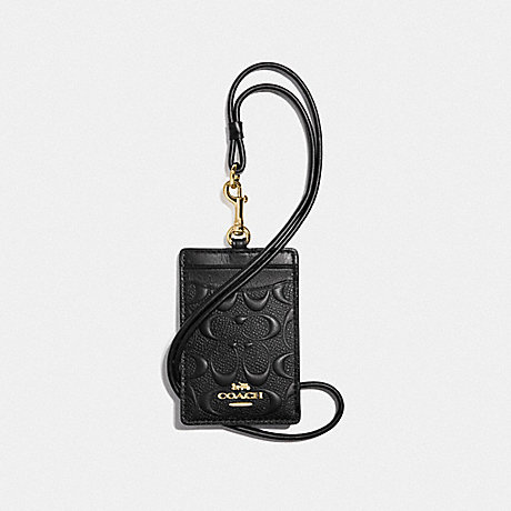 COACH F73602 ID LANYARD IN SIGNATURE LEATHER BLACK/GOLD