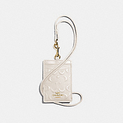 COACH F73602 Id Lanyard In Signature Leather CHALK/GOLD