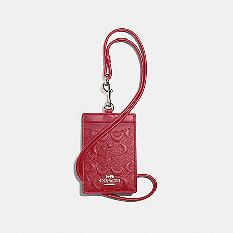 COACH F73602 ID LANYARD IN SIGNATURE LEATHER WASHED RED/SILVER
