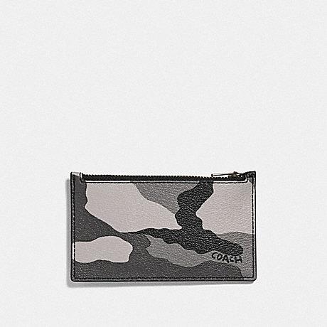 COACH F73605 ZIP CARD CASE WITH CAMO PRINT BLACK ANTIQUE NICKEL/BLACK MULTI
