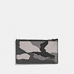 COACH F73605 - ZIP CARD CASE WITH CAMO PRINT BLACK ANTIQUE NICKEL/BLACK MULTI