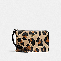 COACH F73607 Corner Zip Wristlet With Animal Print NATURAL/GOLD