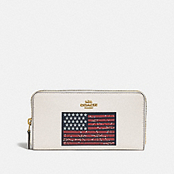 COACH F73608 Accordion Zip Wallet With Americana Flag Motif GOLD/CHALK MULTI/DENIM