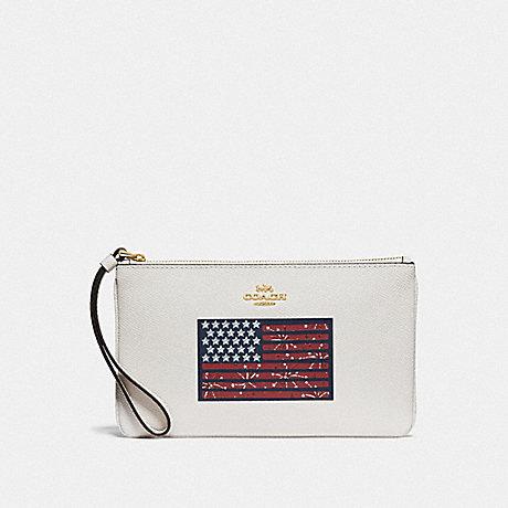 COACH F73609 LARGE WRISTLET WITH AMERICANA FLAG MOTIF GOLD/CHALK MULTI/DENIM