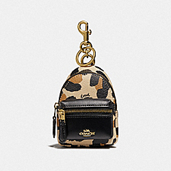 COACH F73610 Backpack Coin Case With Animal Print NATURAL/GOLD