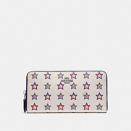 COACH F73624 ACCORDION ZIP WALLET WITH WESTERN STAR PRINT SILVER/CHALK MULTI