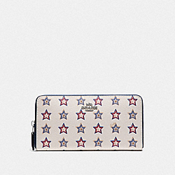 COACH F73624 - ACCORDION ZIP WALLET WITH WESTERN STAR PRINT SILVER/CHALK MULTI