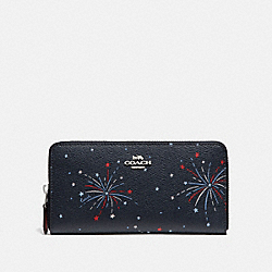 COACH F73625 Accordion Zip Wallet With Fireworks Print SILVER/NAVY MULTI