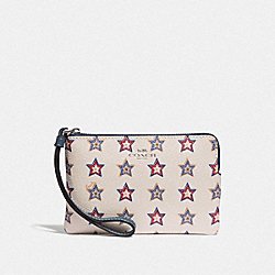COACH F73626 Corner Zip Wristlet With Western Star Print SILVER/CHALK MULTI