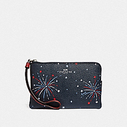 COACH F73627 Corner Zip Wristlet With Fireworks Print SILVER/NAVY MULTI