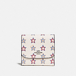 COACH F73628 Small Wallet With Western Star Print SILVER/CHALK MULTI
