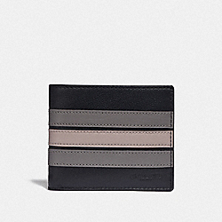 3-IN-1 WALLET WITH VARSITY STRIPE - F73629 - BLACK ANTIQUE NICKEL/BLACK/ GREY/ CHALK