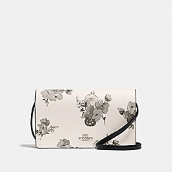 HAYDEN FOLDOVER CROSSBODY CLUTCH WITH FAIRY TALE FLORAL PRINT - F73636 - SILVER/CHALK MULTI
