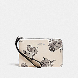 COACH F73637 Corner Zip Wristlet With Fairy Tale Print SILVER/CHALK MULTI
