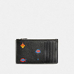 ZIP CARD CASE WITH ALLOVER ATARI PRINT - F73640 - BLACK MULTI/BLACK ANTIQUE NICKEL