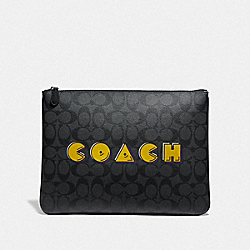 COACH F73652 - LARGE POUCH IN SIGNATURE CANVAS WITH PAC-MAN COACH SCRIPT CHARCOAL/BLACK/BLACK ANTIQUE NICKEL