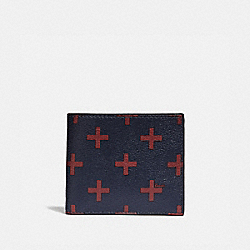 COACH F73655 Id Billfold Wallet With Cross Print MIDNIGHT MULTI/BLACK ANTIQUE NICKEL