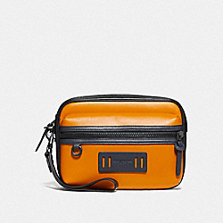 COACH F73662 - TERRAIN POUCH IN COLORBLOCK MARIGOLD/BLACK ANTIQUE NICKEL