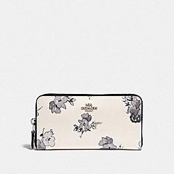 COACH F73663 Accordion Zip Wallet With Fairy Tale Floral Print SILVER/CHALK MULTI