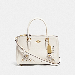 MINI SURREY CARRYALL WITH FLORAL APPLIQUE - F73668 - CHALK MULTI/IMITATION GOLD