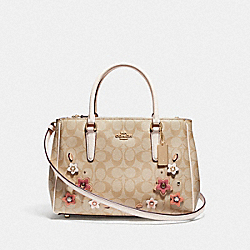 SURREY CARRYALL IN SIGNATURE CANVAS WITH FLORAL APPLIQUE - F73669 - LIGHT KHAKI MULTI/IMITATION GOLD
