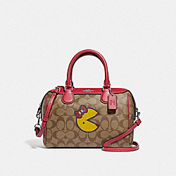 MINI BENNETT SATCHEL IN SIGNATURE CANVAS WITH MS. PAC-MAN - F73670 - KHAKI MULTI/SILVER