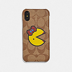 IPHONE X/XS CASE IN SIGNATURE CANVAS WITH MS. PAC-MAN - F73706 - KHAKI/YELLOW