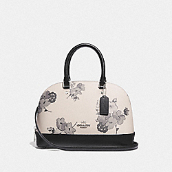 MINI SIERRA SATCHEL WITH FAIRY TALE FLORAL PRINT - F73718 - SILVER/CHALK MULTI