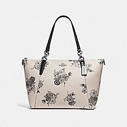 AVA TOTE WITH FAIRY TALE FLORAL PRINT - F73719 - SILVER/CHALK MULTI