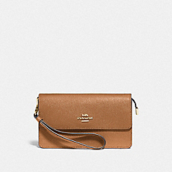 COACH F73793 Foldover Wristlet LIGHT SADDLE/GOLD