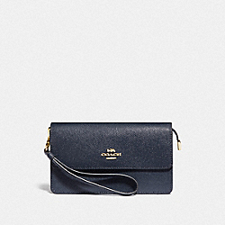 COACH F73793 Foldover Wristlet MIDNIGHT/GOLD