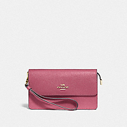 COACH F73793 Foldover Wristlet ROUGE/GOLD