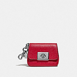 COACH F73858 Mini Cassidy Coin Case SV/BRIGHT CARDINAL