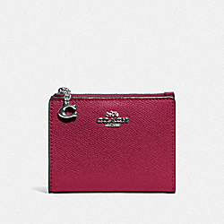 COACH F73867 Snap Card Case SV/DARK FUCHSIA