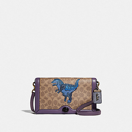 COACH F73942 RILEY IN SIGNATURE CANVAS WITH REXY BY ZHU JINGYI V5/TAN-DUSTY-LAVENDER