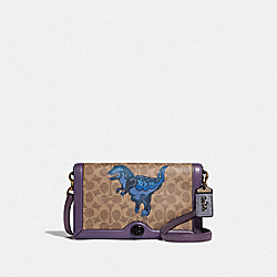 COACH F73942 - RILEY IN SIGNATURE CANVAS WITH REXY BY ZHU JINGYI V5/TAN DUSTY LAVENDER