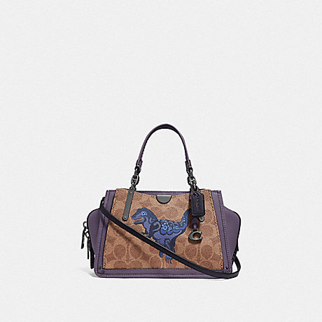 COACH F73945 DREAMER 21 IN SIGNATURE CANVAS WITH REXY BY ZHU JINGYI V5/TAN-DUSTY-LAVENDER